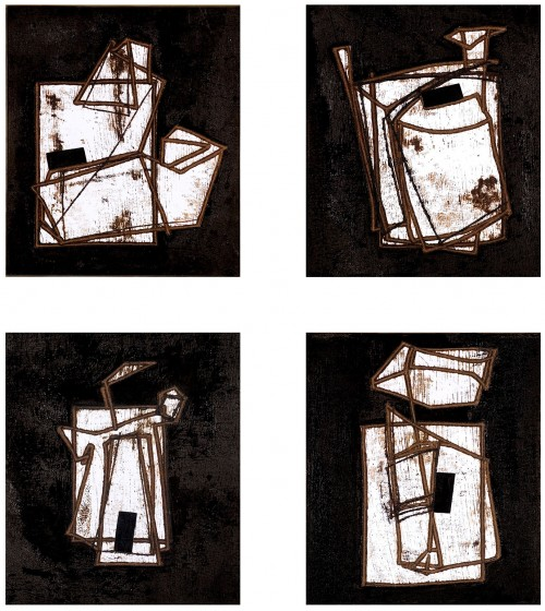 senza titolo/ industrie  bitume su carta cm.40.35 cad.  2006  (untitled/industries bitume on paper)