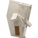 ritratto industriale XXIII marmo Botticino/gomma cm. 80x62x33 2017 (industrial portrait XXIII Botticino marble/rubber)